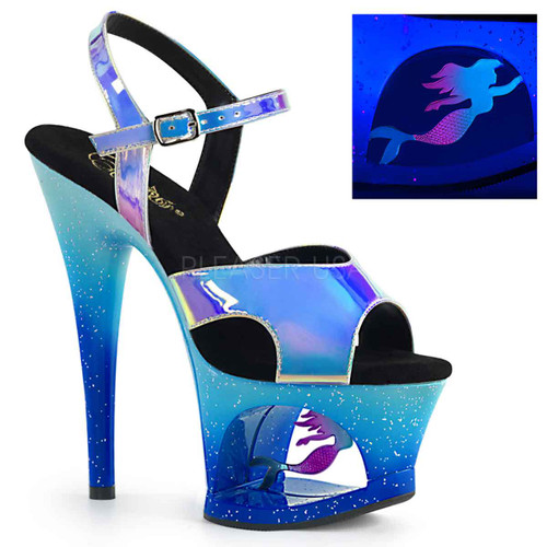 Pleaser Shoes | Moon-711MER, Blacklight Reactive Mermaid Platform Shoes