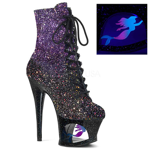 Pleaser Shoes | MOON-1020MER, Cut out Platform Mini Glitter Ankle Boots
