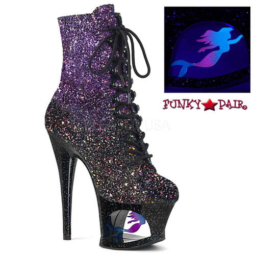 Pleaser Shoes | MOON-1020MER, Cut out Platform Mini Glitter Ankle Boots | FunkyPair