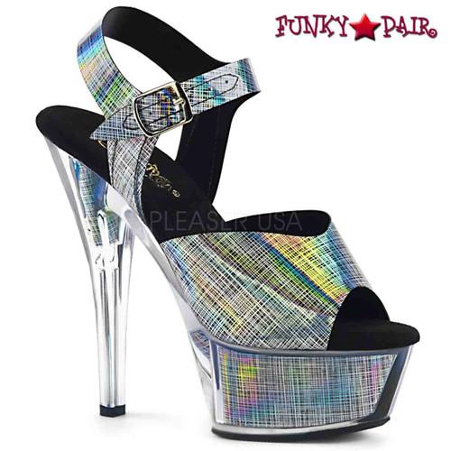 Stripper Shoes | KISS-208N-CRHM, Crosshatch Print Platform Sandal color black