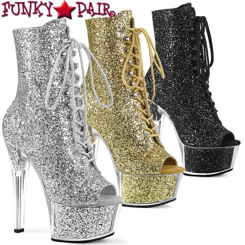 Pleaser | ASPIRE-1021G, Glitter Open Toe Ankle Boots