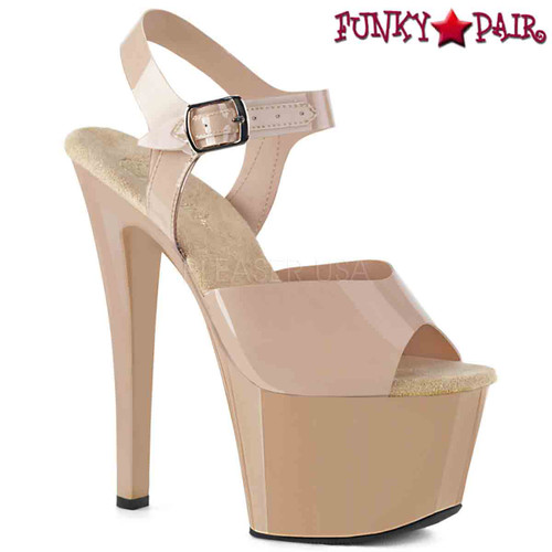 Pleaser Shoes | SKY-308N, Jelly-Like Platform Ankle Strap Sandal  color cream
