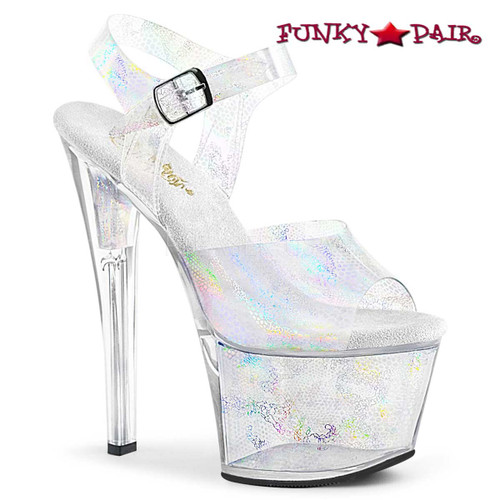 Pleaser Shoes SKY-308N, Jelly-Like Platform Ankle Strap Sandal  color silver hologram