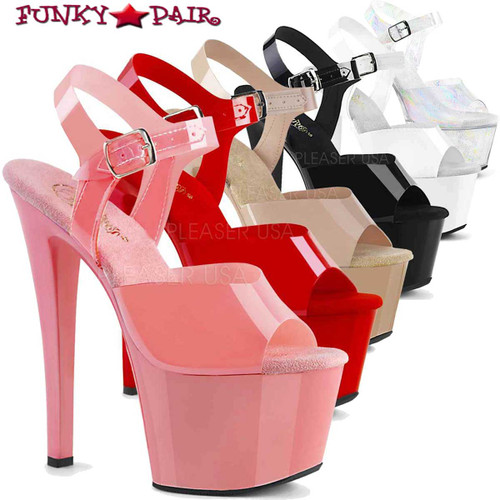 Pleaser Shoes SKY-308N, Jelly-Like Platform Ankle Strap Sandal