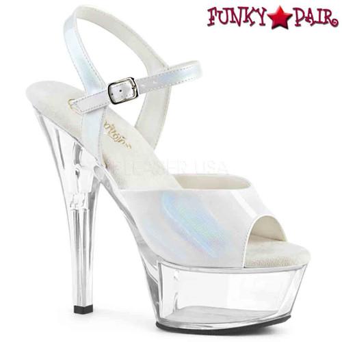 Pleaser Shoes   KISS-209BHG, Brush Holographic Ankle Strap Sandal  color  white