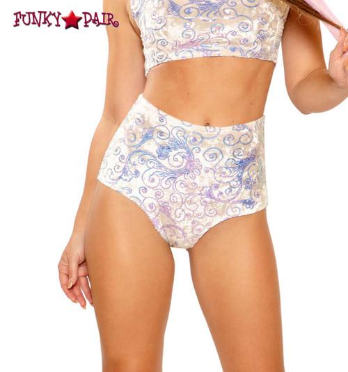 Sequin Embroidered High-Waist Short by J Valentine JV-FF150 color white prism