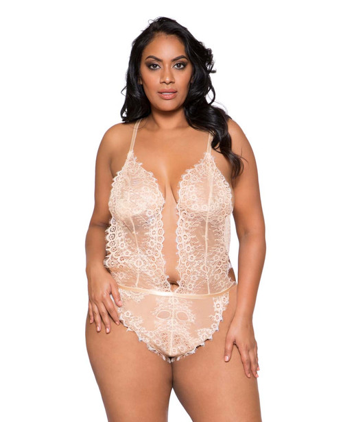 Plus Size Lingerie | LI258X, Lace Cutout Teddy