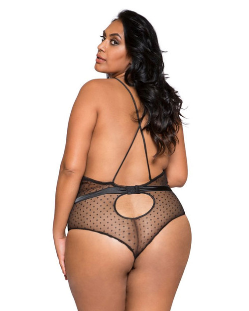 Plus Size Lingerie | LI279X, Satin and Lace Teddy color black back view