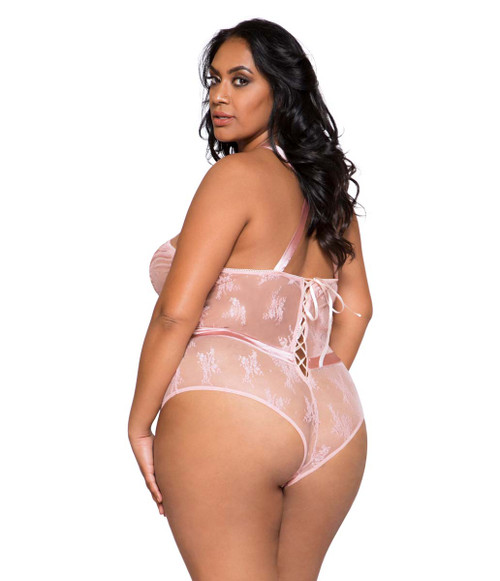 Plus Size Lingerie | LI260X, Satin and Lace Contrast Bodysuit back view