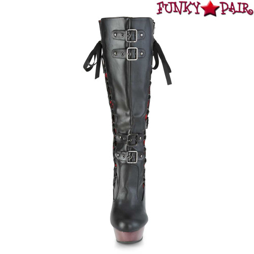 Demonia | MUERTO-2030, Corset Style Knee High Boots | Front Strap View