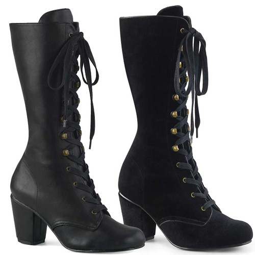 Demonia Women's Boots | VIVIKA-205, Lace-up Mid-Calf Boots