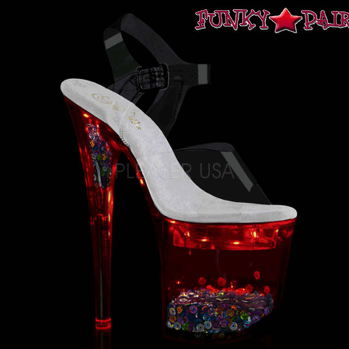 Pleaser Shoes | Flashdance-808SQ, Ankle Strap Sandal with Light-up Platform color red