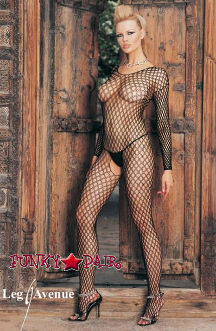 Leg Avenue 8748 Seamless Long Sleeved Ring Net Bodystocking color Black One Size