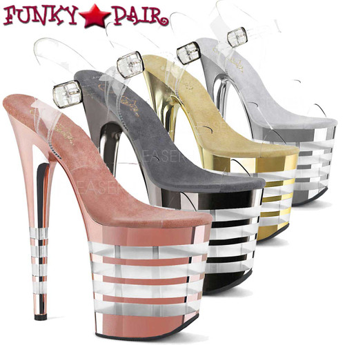 Pleaser 8 Inch | Flamingo-808CHLN, Ankle Strap with Lined Platform