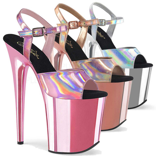 Stripper Shoes | Flamingo-809HG, Hologram Ankle Strap with Chrome Bottom