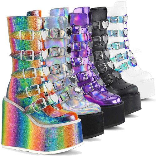 Raver Boots | SWING-230, Mid-Calf Boots with Heart Buckles Straps