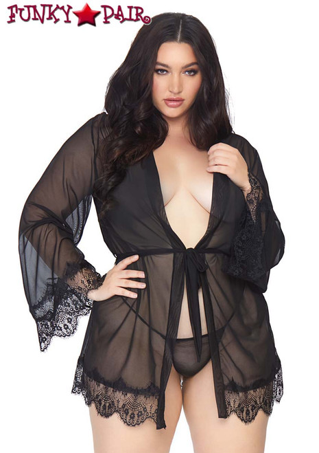 Plus Size | Sheer Short Robe Leg Avenue LA86107X color black