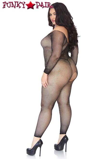 Plus Size Crystalized Fishnet Bodystocking | Leg Avenue LA89233X back view