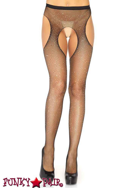 Crystalized Fishnet Suspender Pantyhose Leg Avenue LA-9108X