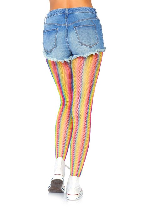 Rainbow Striped Fishnet Tights Leg Avenue LA-9305 back view