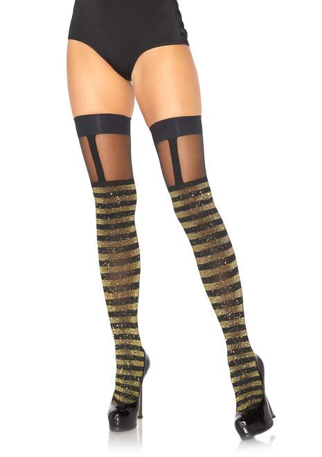 Striped Thigh Highs With Sheer Garter Leg Avenue LA-6314