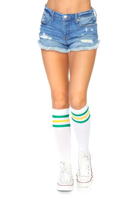 100c3f2c59cda KNEE HIGH SOCKS - Lace Ruffle Nylon Anklet - Striped Knee High Stockings