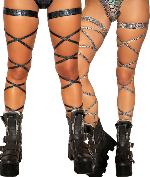SNAKE SKIN LEG STRAP WITH ATTACHED GARTER  Roma R-3686