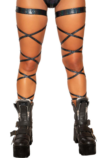 Black SNAKE SKIN LEG STRAP WITH ATTACHED GARTER  Roma R-3686