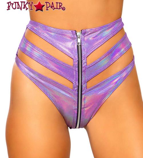 Purple CUTOUT HIGH-WAISTED RAVE SHORTS   Roma R-3726