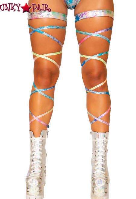 4d0ab3948d8 LEG WRAP - GARTER Set With Leg Strap - Neon Leg Wrap