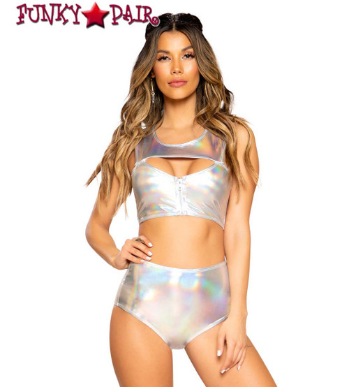 Roma | R-3752, METALLIC CROP TOP color Silver full view with short 3573