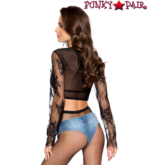 LACE CROP TOP | Roma R-LI299 Back View