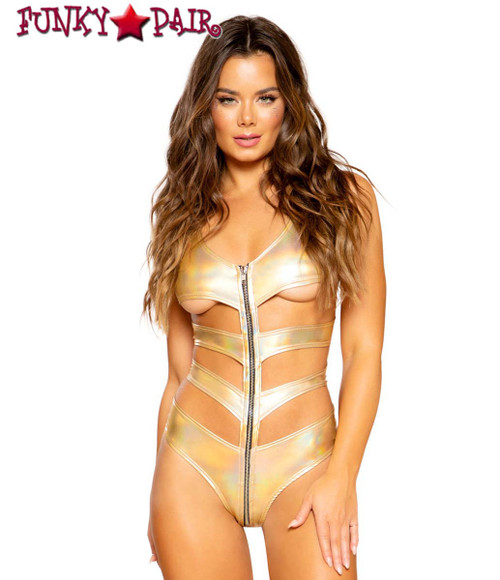Gold METALLIC CUTOUT ROMPER | Roma R-3699