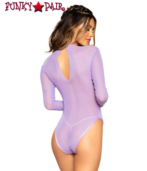 SHEER LONG SLEEVE ROMPER | Roma R-3700 color lavender back view