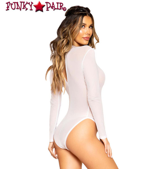 Roma R-3700 SHEER LONG SLEEVE ROMPER color white back view
