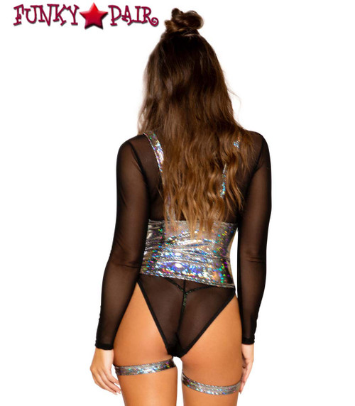 Black SHEER LONG SLEEVE ROMPER | Roma R-3700 with 3702 back view