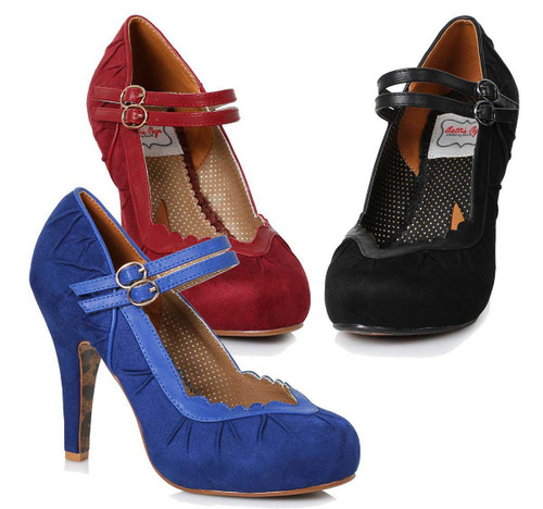 62313afb6d Bettie Page | BP412-Tami, Double Strap Suede Marjane ...
