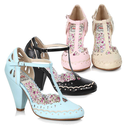 3e4f480c7b T-strap Shoes Chunky Heel Maryjane | Bettie Page BP403-Birdie ...