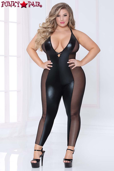 Plus Size Lamé and Mesh Bodysuit STM-10964X