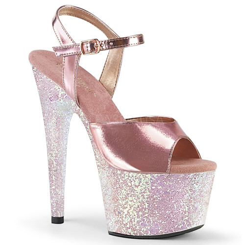 Stripper Shoes Adore-709LG, 7 Inch Ankle Strap with Holograhic Glitter Platform Sandal