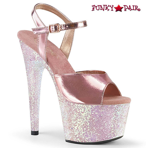 Pleaser Shoes Adore-709LG, 7 Inch Ankle Strap with Holograhic Glitter Platform Sandal