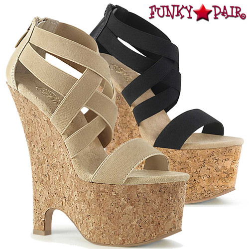 "Pleaser Beau-669, 6.5"" Strappy Wedge Cork Sandal"