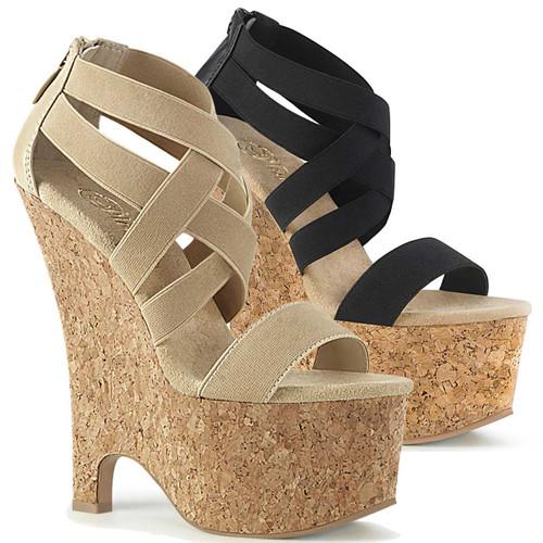 "Beau-669, 6.5"" Strappy Wedge Cork Sandal by Pleaser"