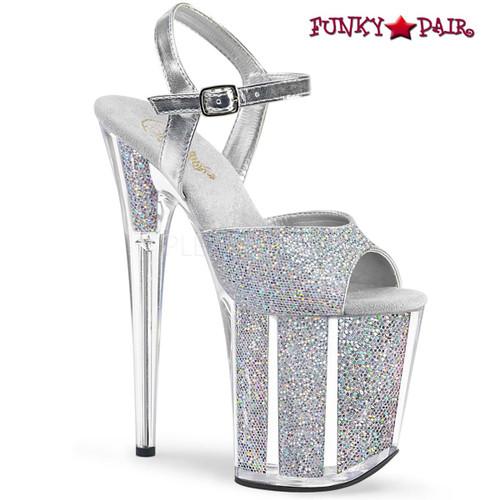 Pleaser Shoes   Flamingo-810G, Glitter Platform Ankle Strap Sandal