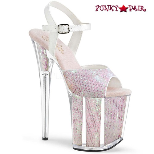 Exotic Dancer Shoes   Flamingo-810G, Glitter Platform Ankle Strap Sandal