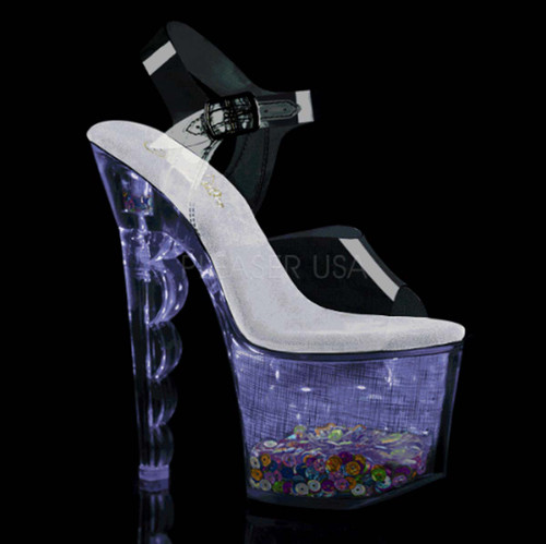 Pleaser | Flashdance-708SCHSQ, Lite-up with Multi-Color Sequin in Platform color purple