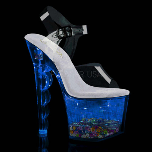 Pleaser | Flashdance-708SCHSQ, Lite-up with Multi-Color Sequin in Platform color blue