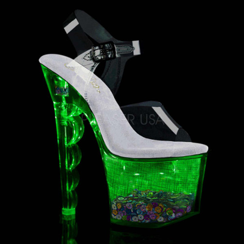 Flashdance-708SCHSQ, Lite-up with Multi-Color Sequin in Platform color green