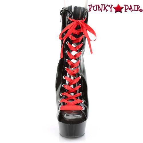"Pleaser | Delight-1016FH, Front View 6"" Heel Corset Style Platform Bootie"