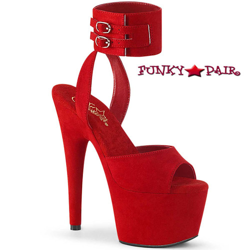 Adore-791FS by Pleaser Red Suede Ankle Cuff Sandal